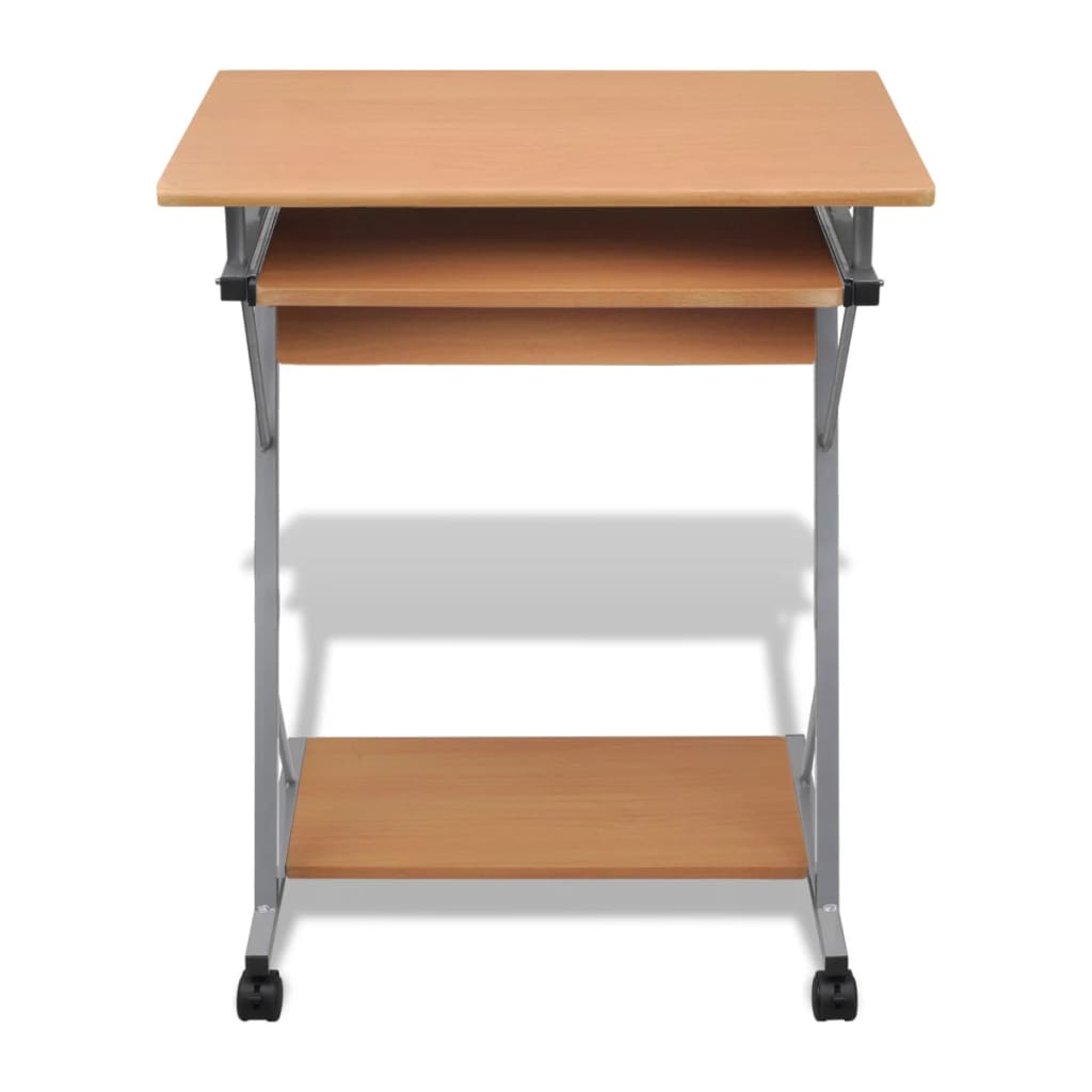 Computer desk pull out tray brown furniture office student for Bureau table