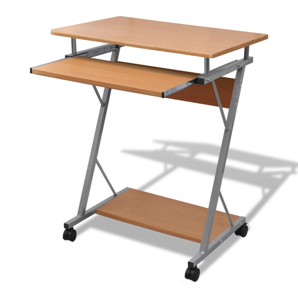 Computer desk pull out tray brown furniture office student for Table ordinateur