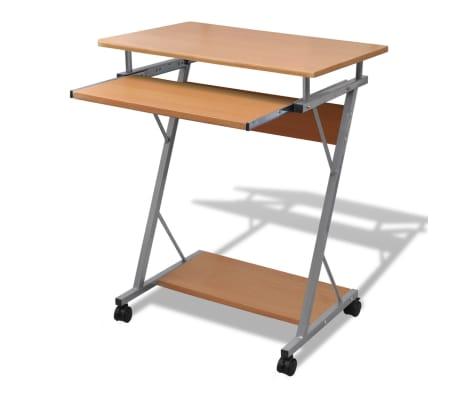 Pojízdný počítačový stůl s výsuvnou deskou - hnědý | www ...
