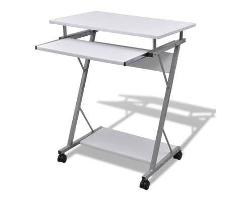 Mobilní počítačový stůl s výsuvnou deskou bílý