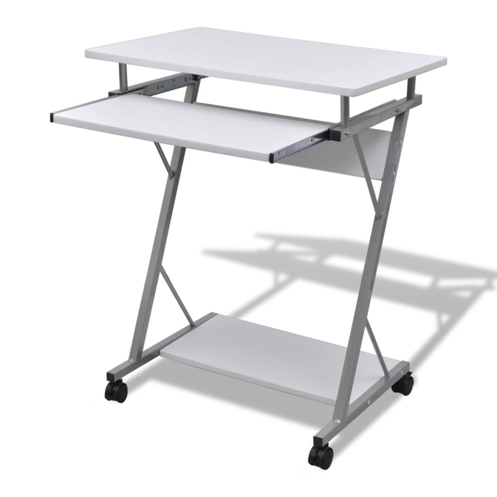Table de bureau pour ordinateur avec roulettes stable avec - Bureau sur roulettes pour ordinateur ...