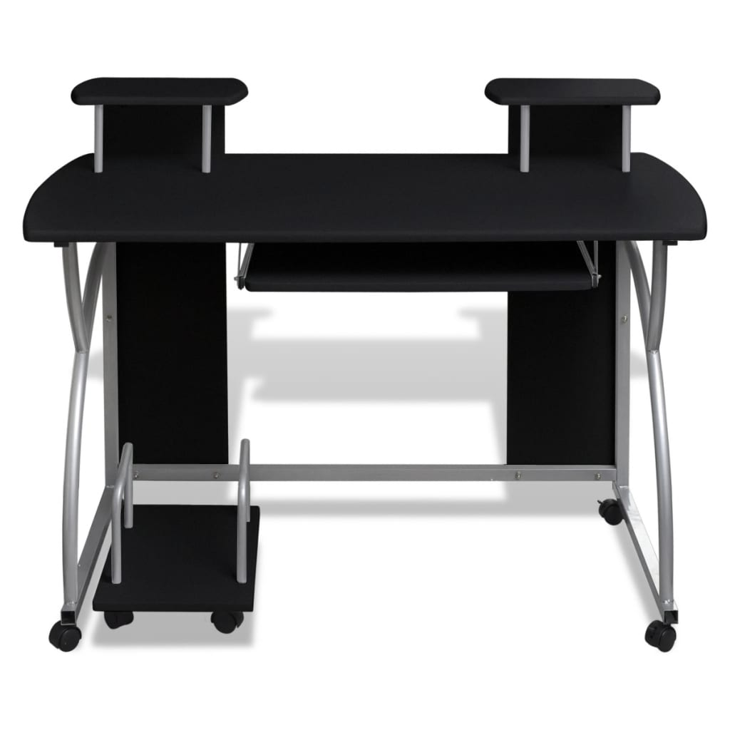 la boutique en ligne table de bureau noire pour ordinateur avec tag re. Black Bedroom Furniture Sets. Home Design Ideas
