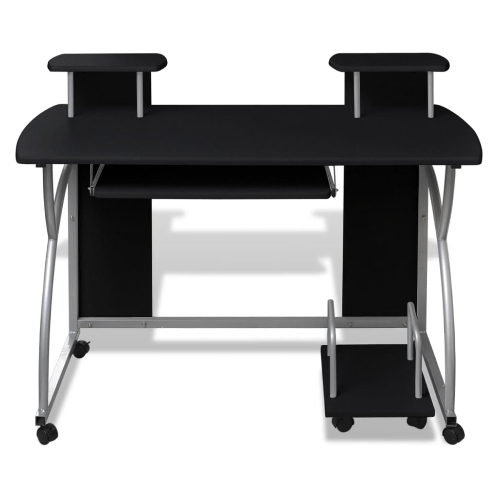 Mobile computer desk pull out tray black for Mobile furniture