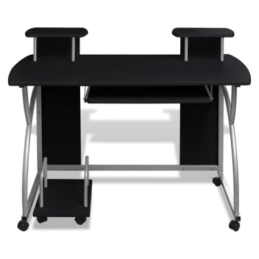 uk | Mobile Computer Desk Pull Out Tray Black Finish Furniture Office