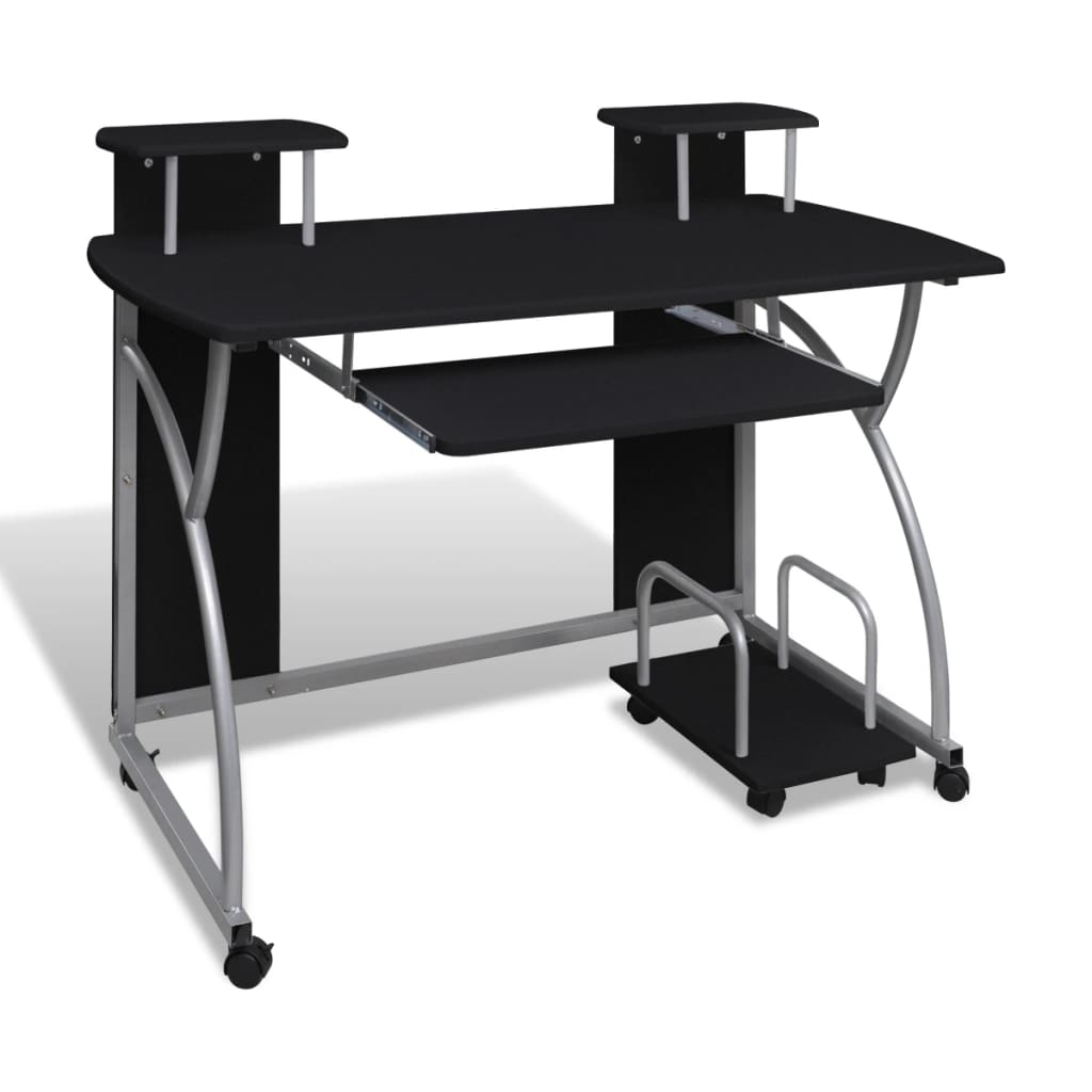 Mobile computer desk pull out tray black finish furniture - Mobile office desk ...