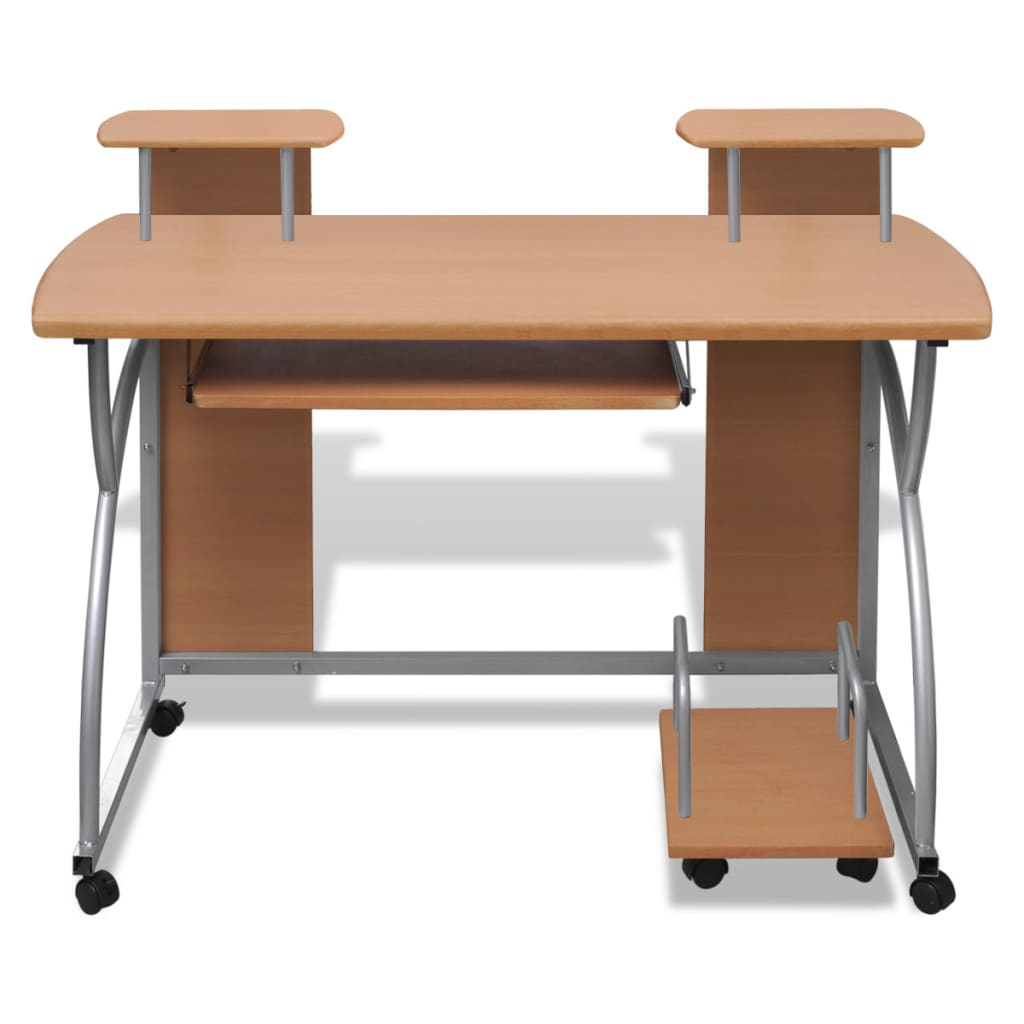 Mobile computer desk pull out tray brown - Mobile office desk ...