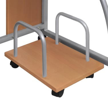 Mobile Computer Desk Pull Out Tray Brown Finish Furniture Office[4/5]