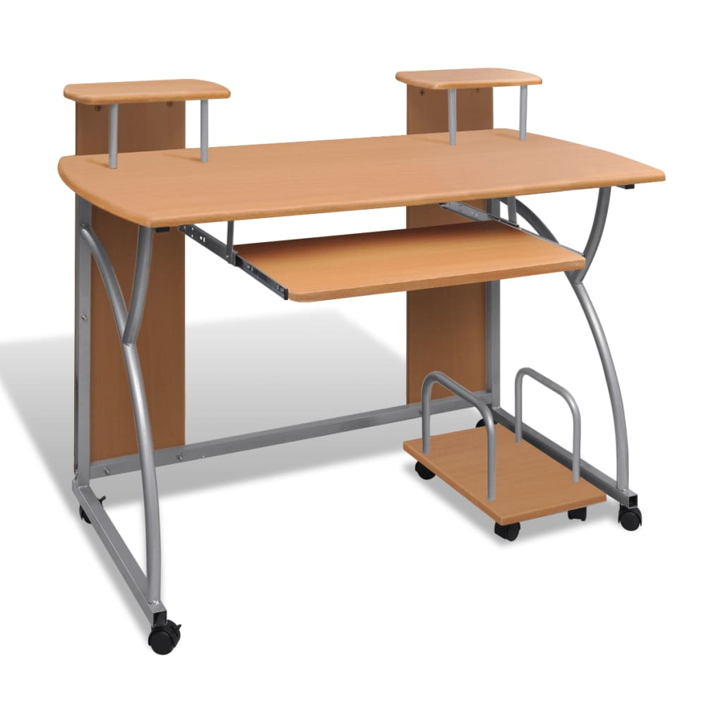 Mobile computer desk pull out tray brown for Computer desk furniture