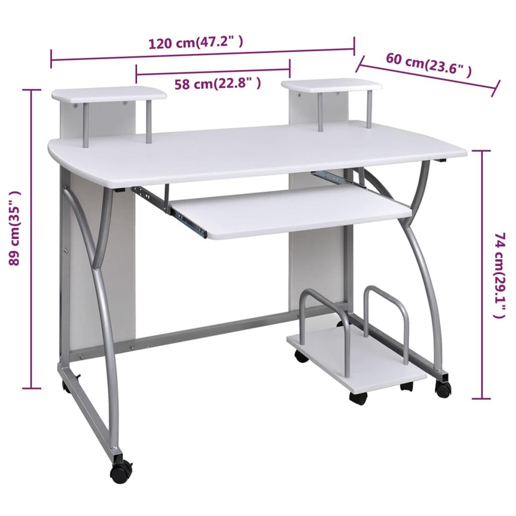 La boutique en ligne table de bureau blanche pour for Table pour ordinateur fixe