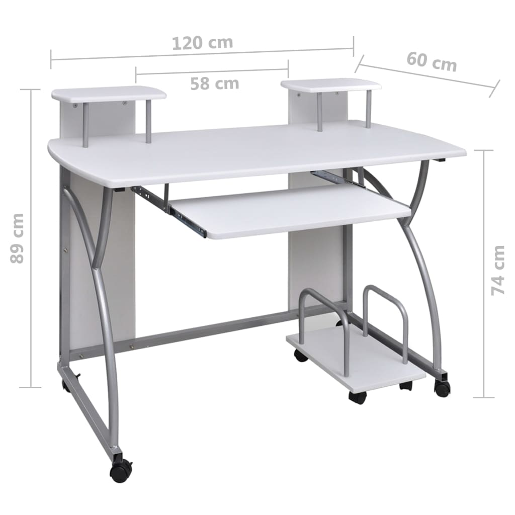 ... Mobile Computer Desk Pull Out Tray White Finish Furniture Office[6/6]