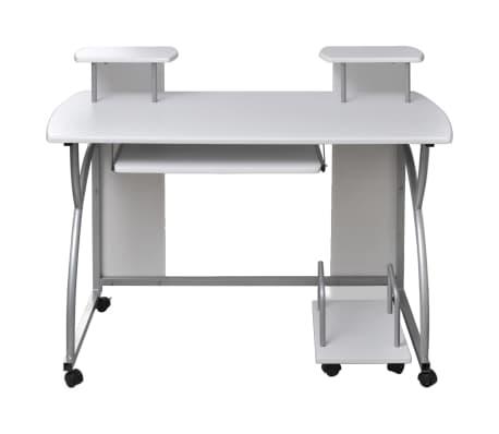 table de bureau blanche pour ordinateur avec tag re. Black Bedroom Furniture Sets. Home Design Ideas