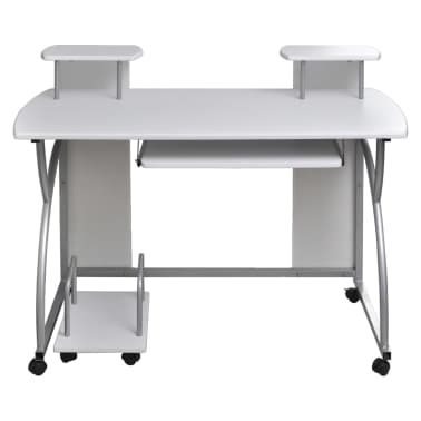 uk | Mobile Computer Desk Pull Out Tray White Finish Furniture Office