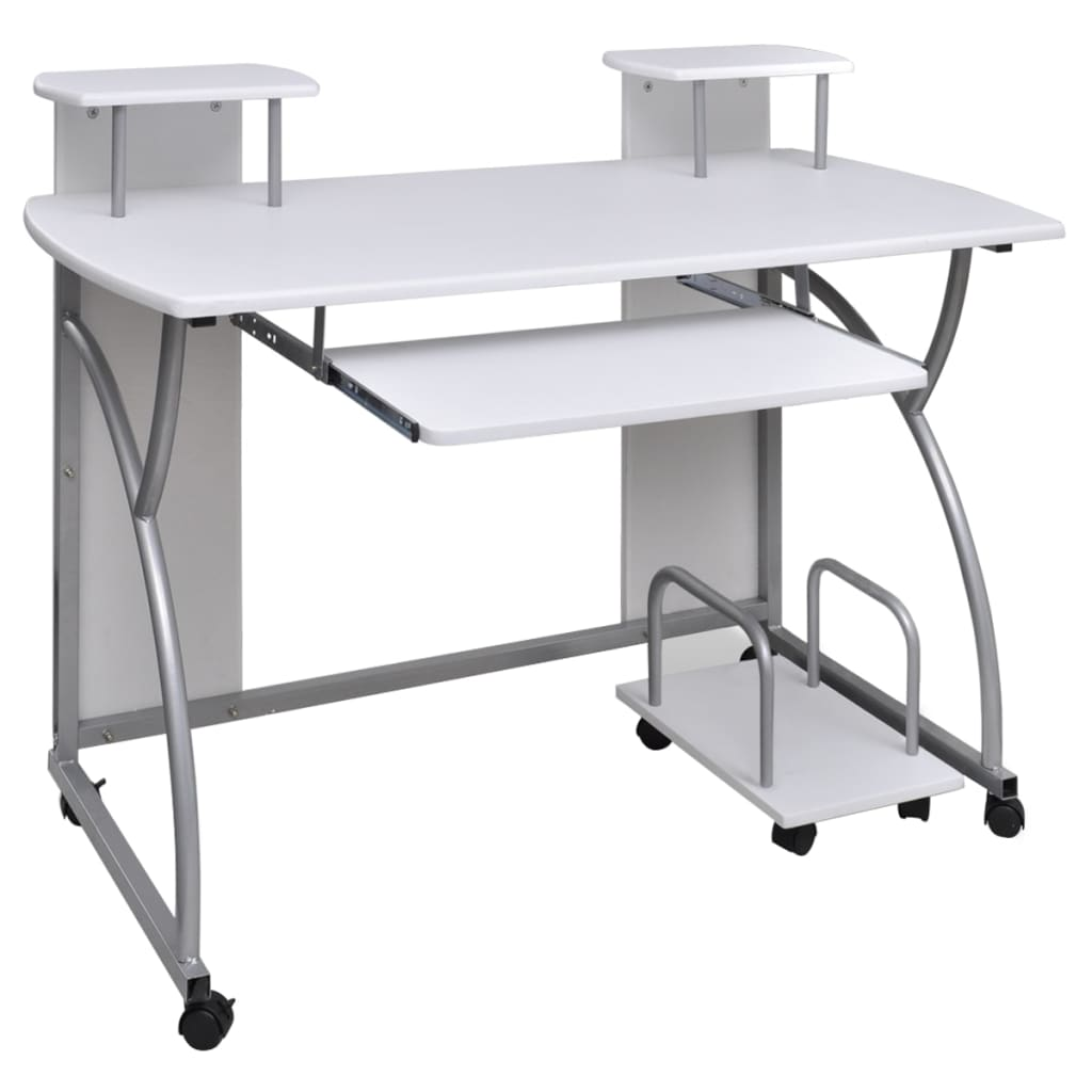 Mobile computer desk pull out tray white finish furniture for Mobile furniture