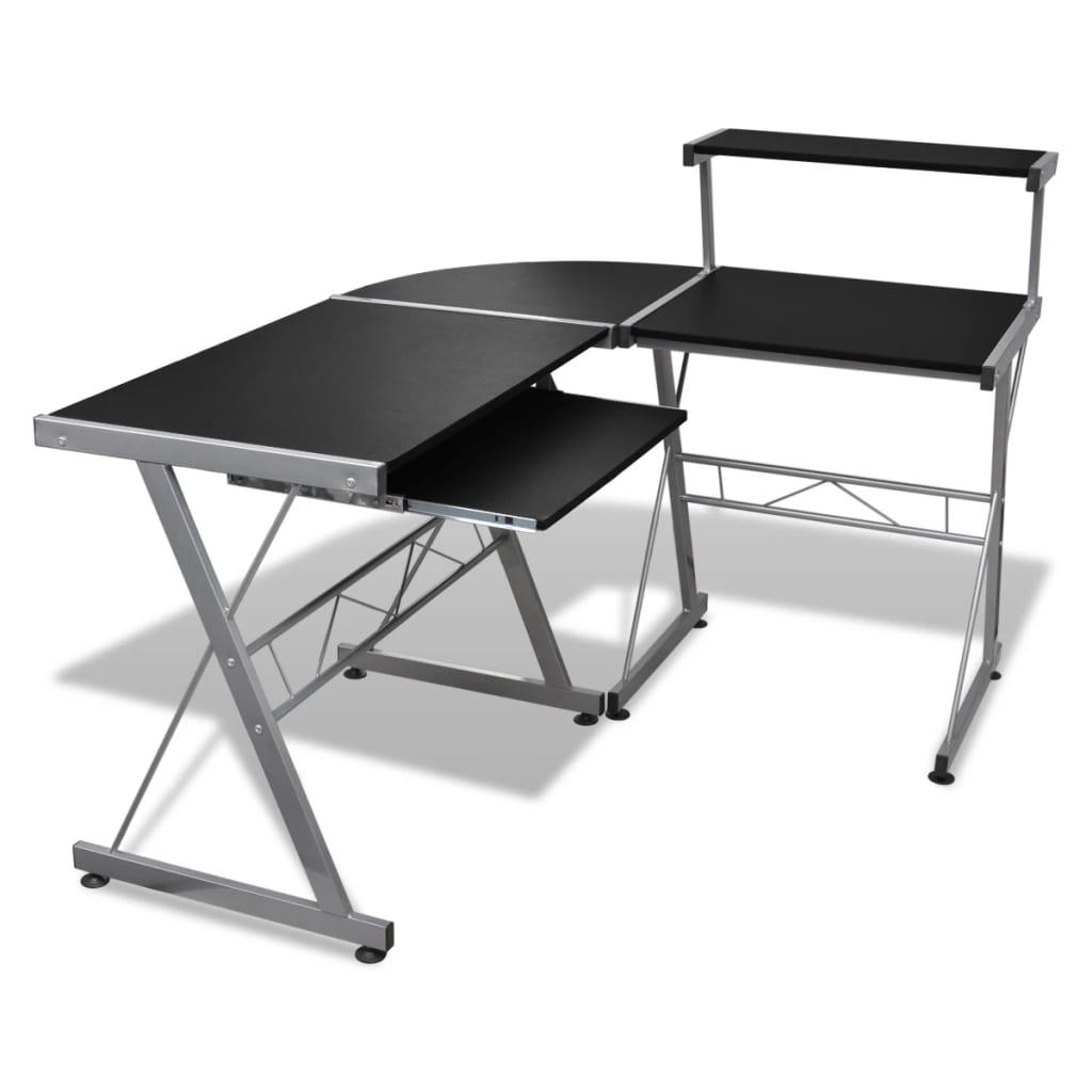 Mesa de ordenador con bandeja de teclado extra ble negro for Mesa ordenador amazon