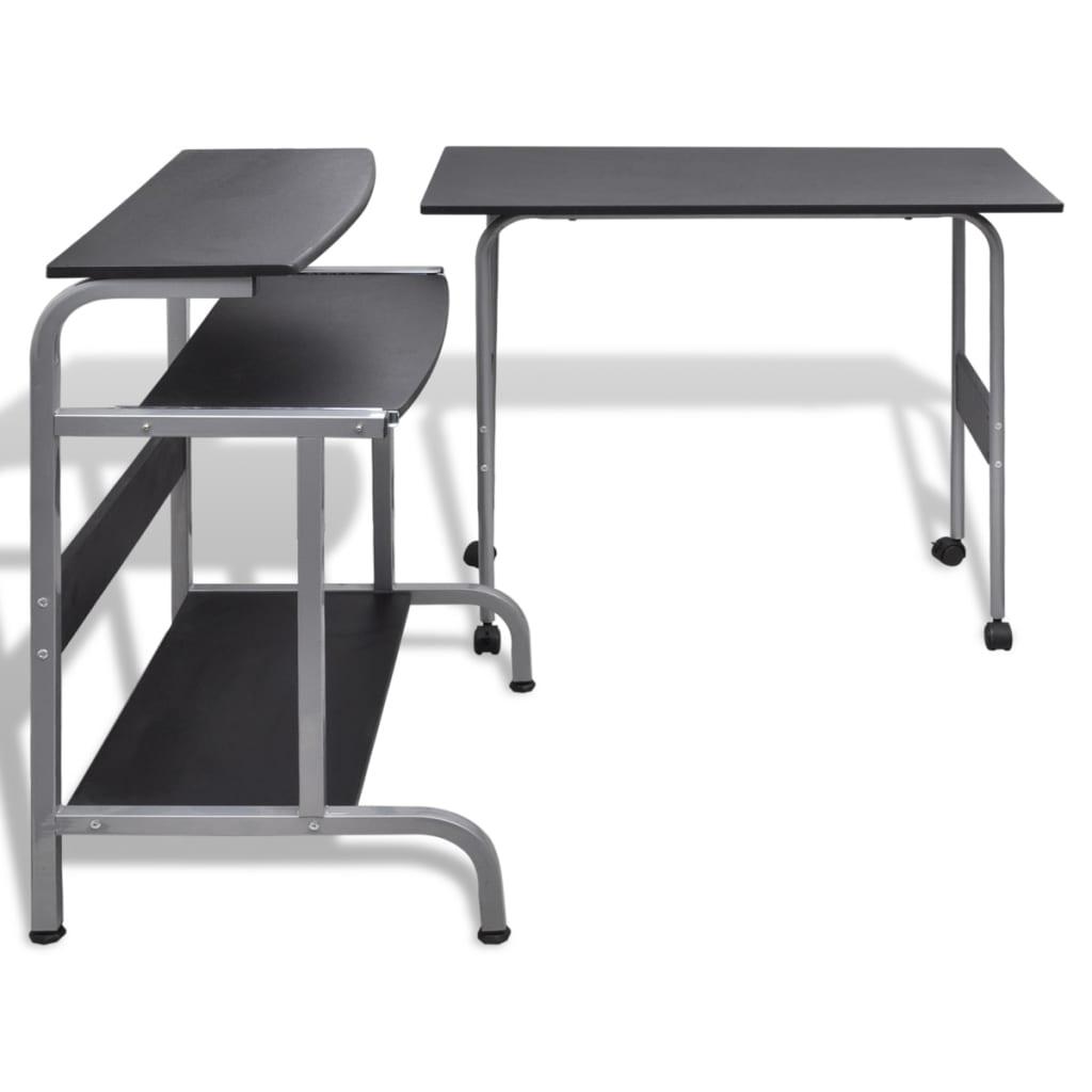 Acheter table de bureau r glable noire pour ordinateur avec roulettes pas cher - Solde ordinateur de bureau ...
