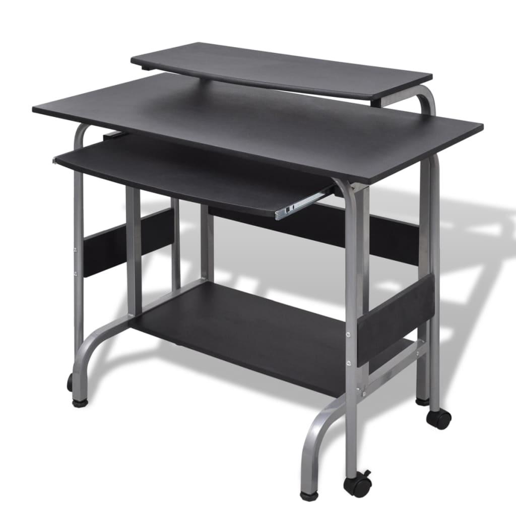 acheter table de bureau r glable noire pour ordinateur avec roulettes pas cher. Black Bedroom Furniture Sets. Home Design Ideas