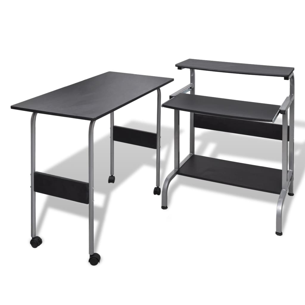 Computer Desk Adjustable Workstation Black | www.vidaxl.ie