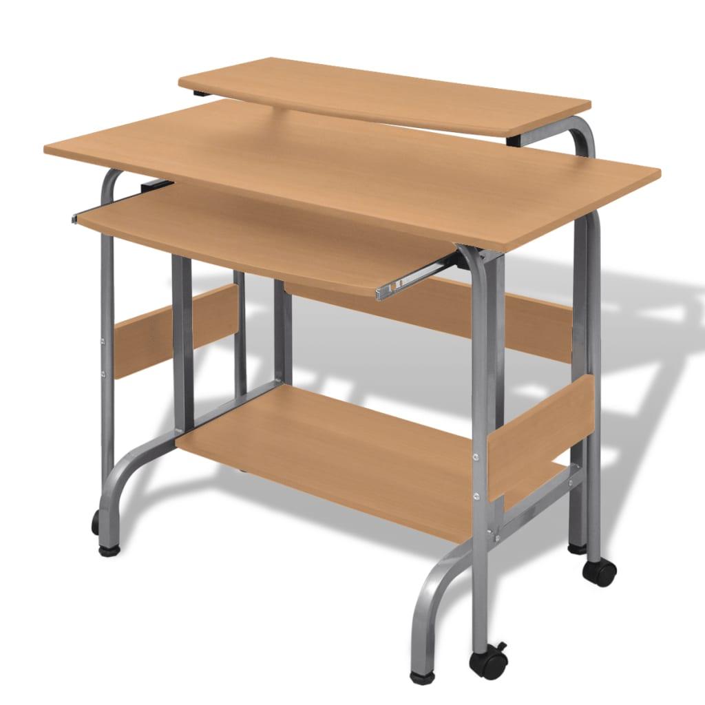 Computer Desk Adjustable Workstation Brown Vidaxl Co Uk