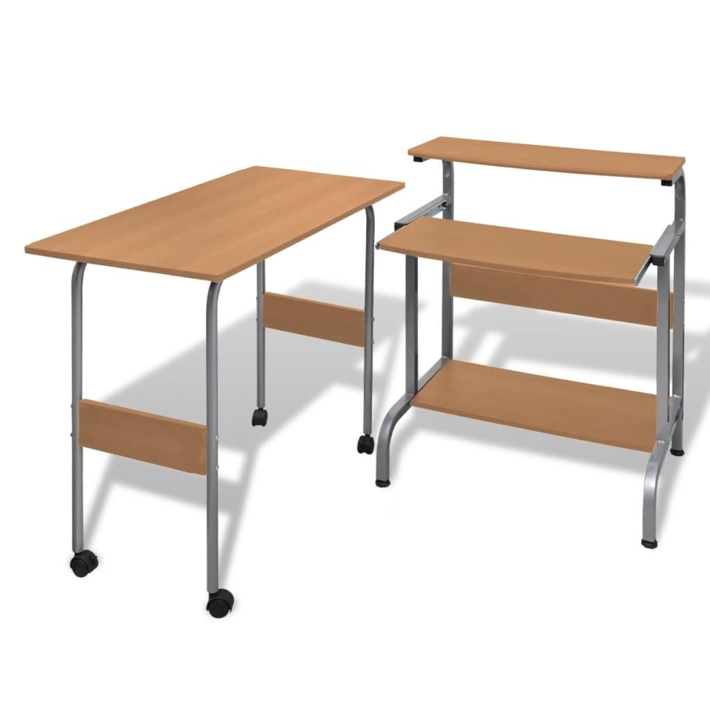 vidaXL Állítható Számítógépasztal Barna