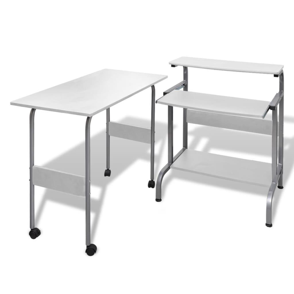 acheter table de bureau r glable blanche pour ordinateur avec roulettes pas cher. Black Bedroom Furniture Sets. Home Design Ideas
