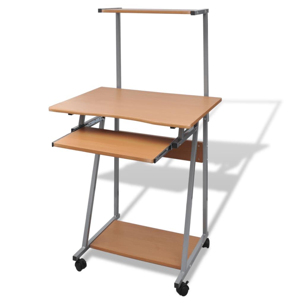 acheter table de bureau brun pour ordinateur avec roulettes et plateau pas cher. Black Bedroom Furniture Sets. Home Design Ideas