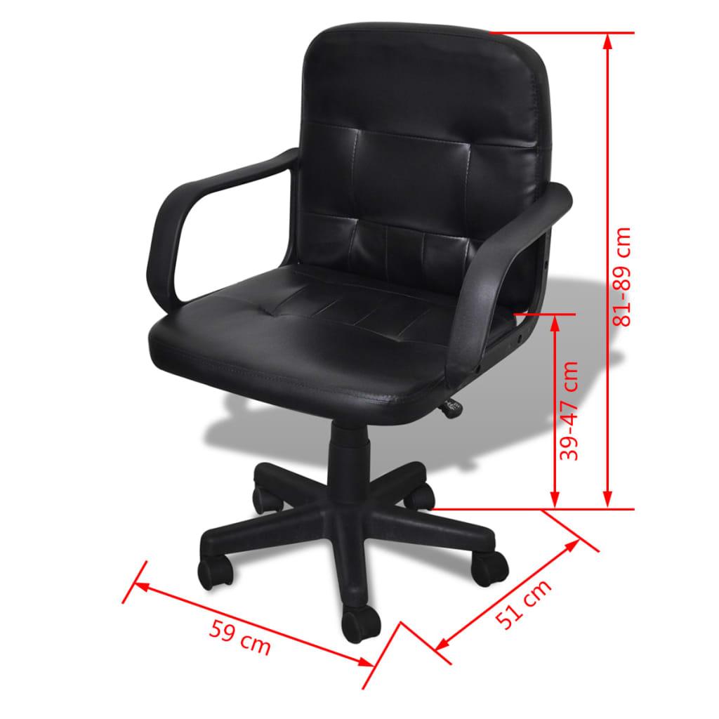 Silla de oficina de cuero calidad negro 59 x 51 x 81 89 cm - Sillas en cuero ...