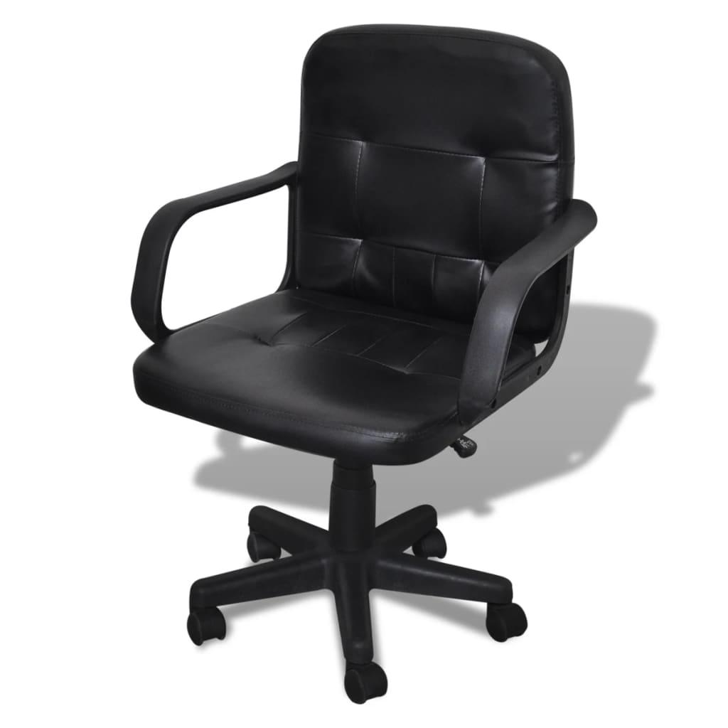 vidaXL Bürosessel Bürostuhl Drehstuhl Chefsessel Ledemix schwarz