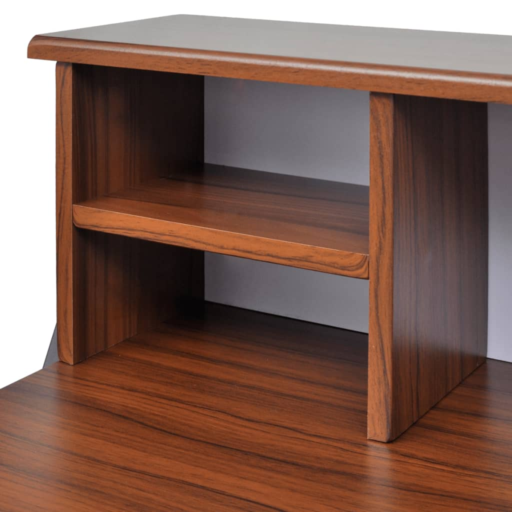 vidaXL.co.uk | Brown Workstation Computer Desk with 2 Drawers