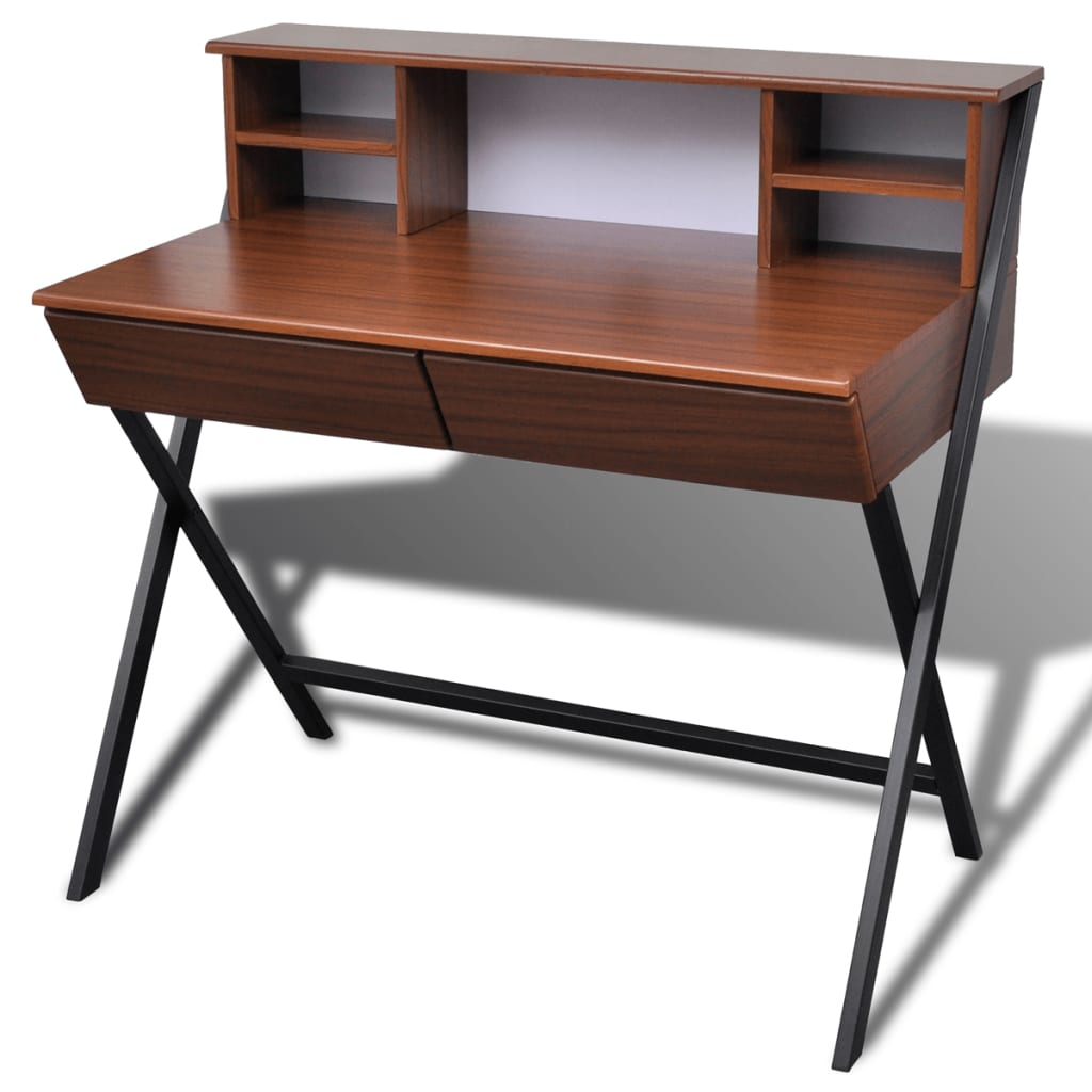 Brown Workstation Computer Desk With 2 Drawers
