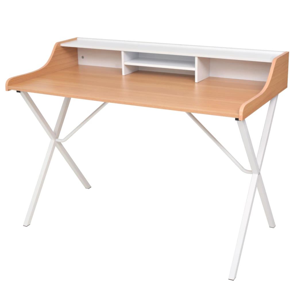 vidaXL.co.uk  Natural Wood Workstation Computer Desk