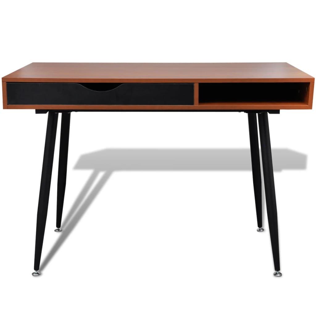 brown workstation computer desk laptop table. Black Bedroom Furniture Sets. Home Design Ideas