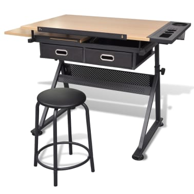 Two Drawers Tiltable Tabletop Drawing Table with Stool[4/8]