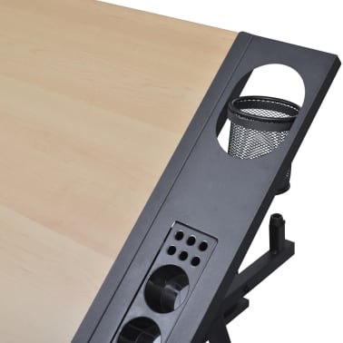 Two Drawers Tiltable Tabletop Drawing Table with Stool[6/8]