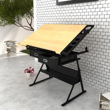Two Drawers Tiltable Tabletop Drawing Table with Stool[2/8]