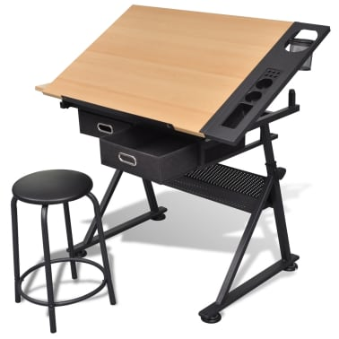 Two Drawers Tiltable Tabletop Drawing Table with Stool[1/7]