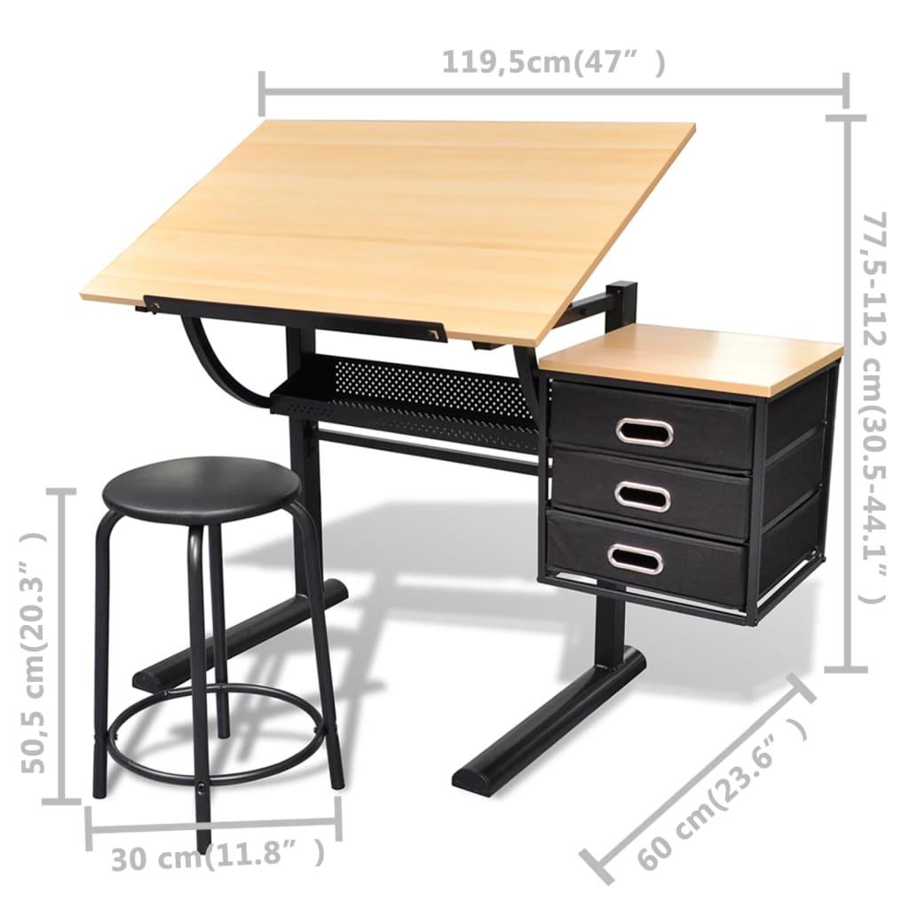 Scrivania inclinabile con due cassetti tavolo da disegno con sgabello - Il tavolo da disegno ...
