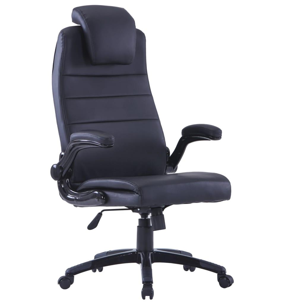 vidaXL Kunstleren bureaustoel (zwart / verstelbaar)
