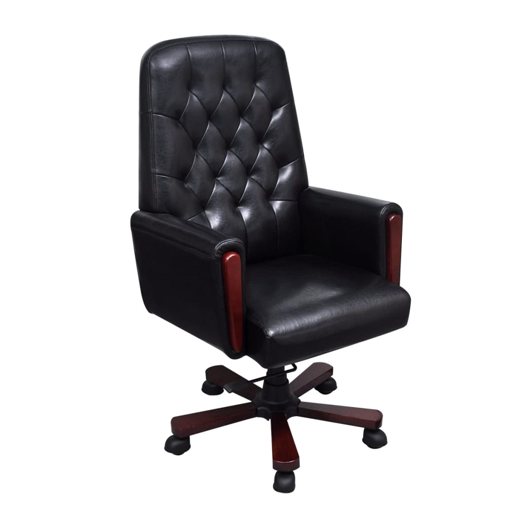 Sedia da ufficio chesterfield in pelle artificiale nera for Sedia da ufficio amazon