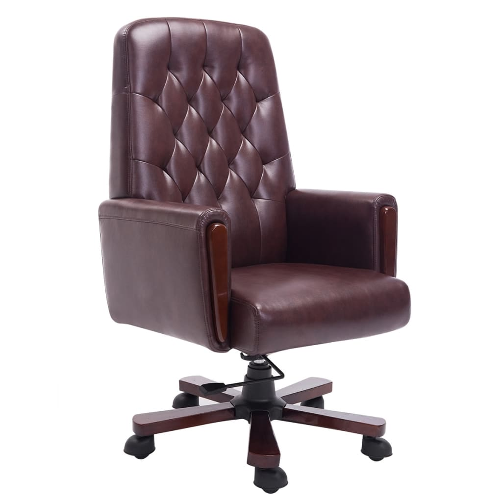 kunstleren chesterfield bureaustoel bruin. Black Bedroom Furniture Sets. Home Design Ideas
