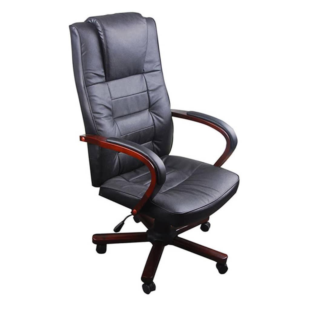 Black Office Chair Artificial Leather Height Adjustable