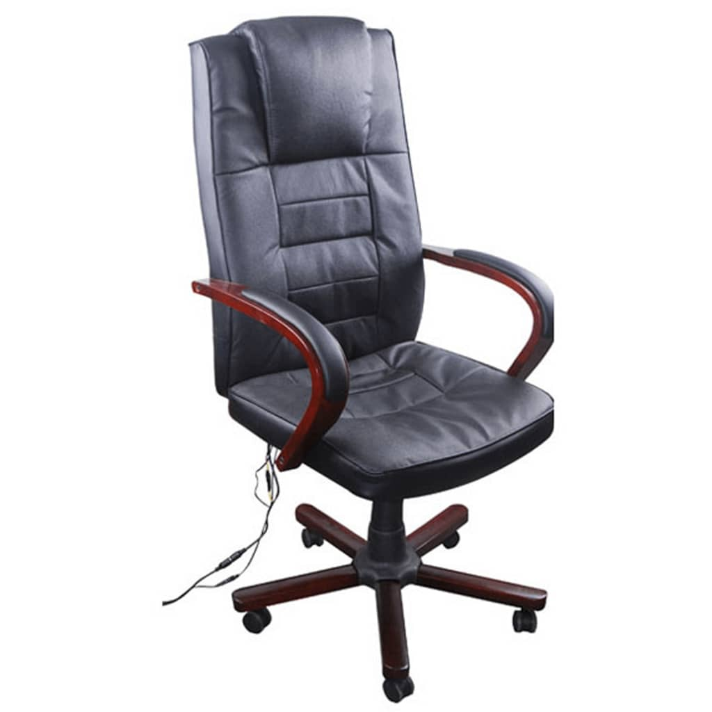 Black Office Massage Chair Real Leather Height Adjustable