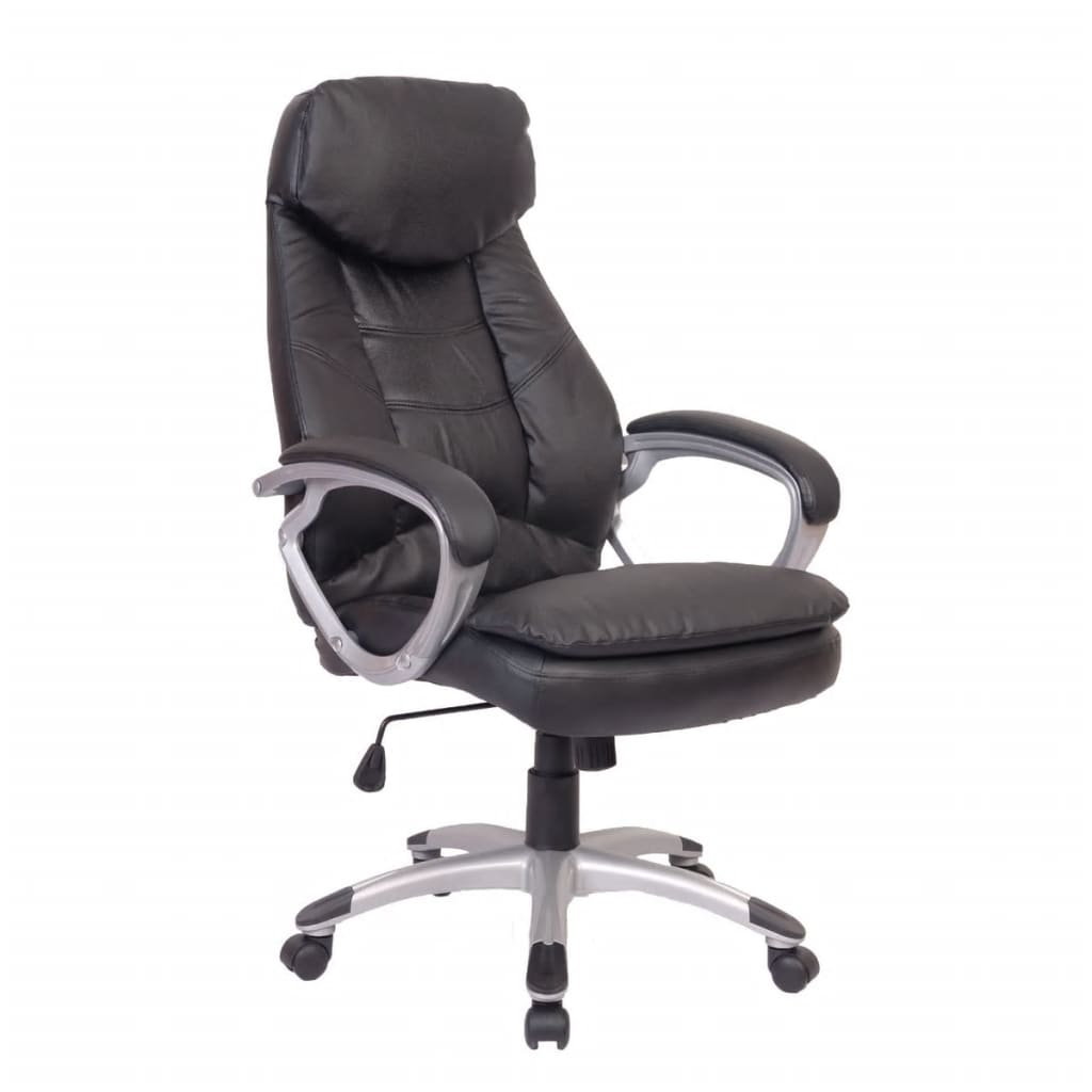 Black Office Chair Real Leather