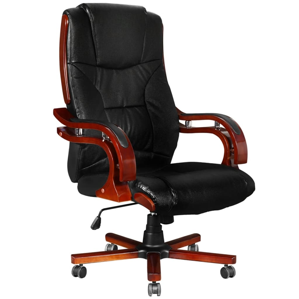 Black Real Leather Office Chair High Back | vidaXL.com