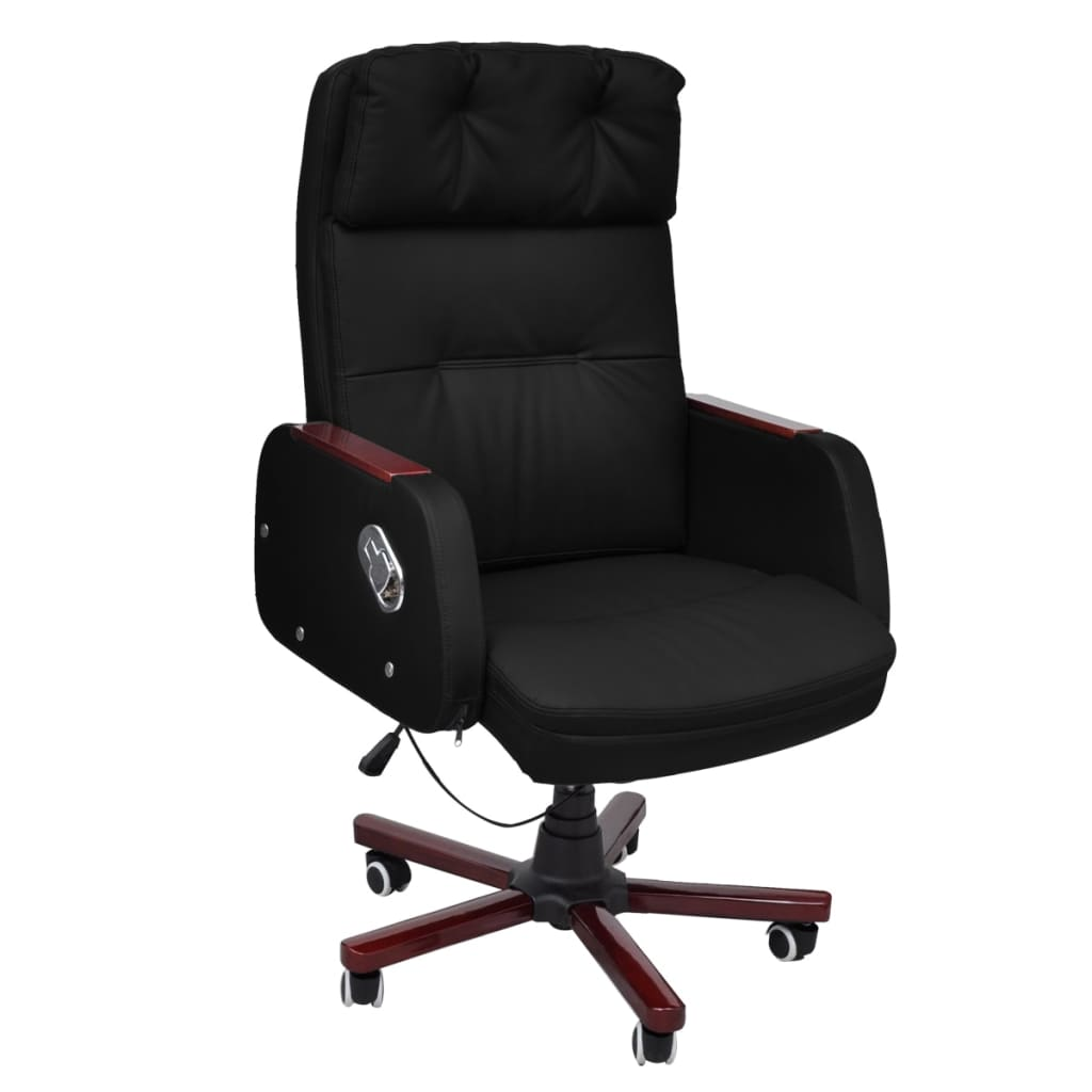 Image result for Black Adjustable Artificial Leather Office Chair Recliner