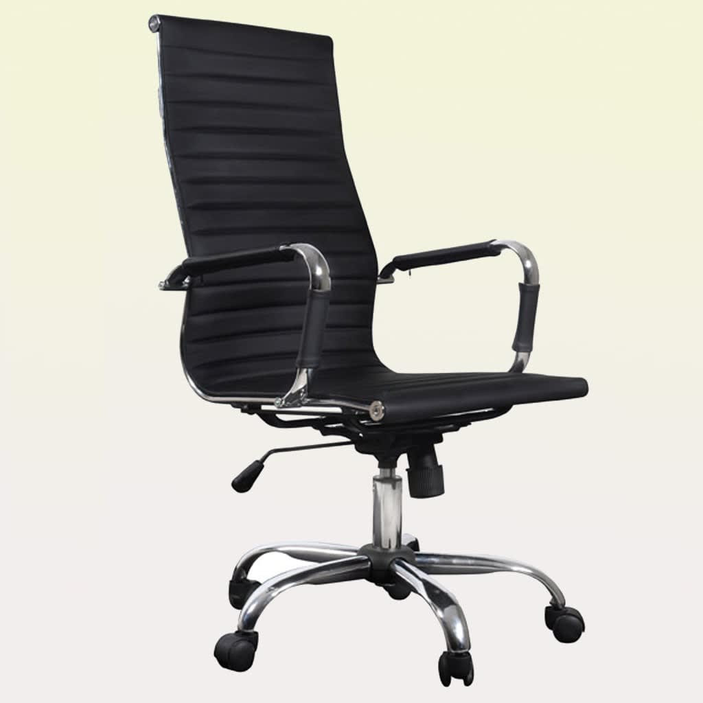 Black Leather Office Chair High Back Upholstered Recliner Adjule Tilting