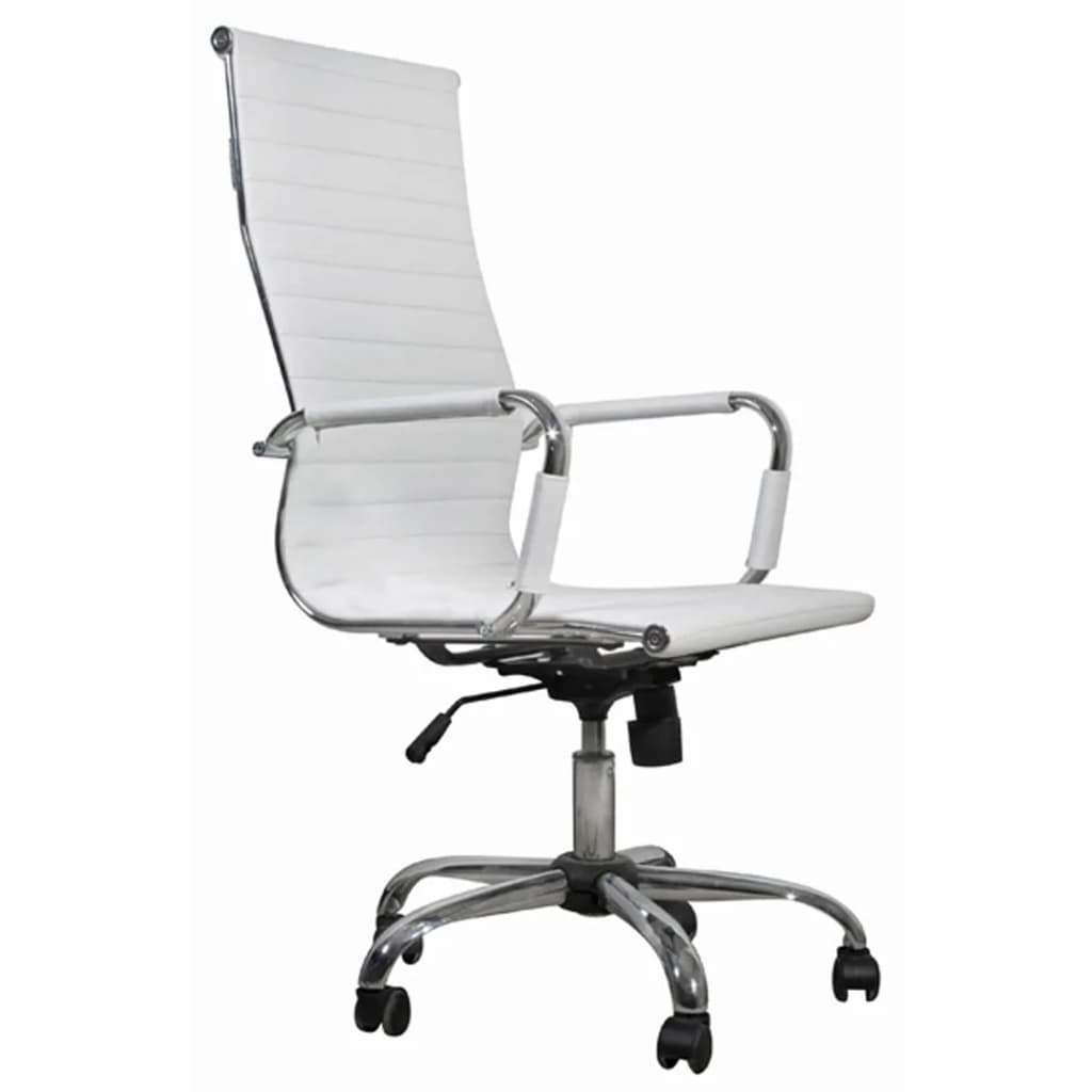 white leather desk chair white leather office chair high back vidaxl com 21991 | image