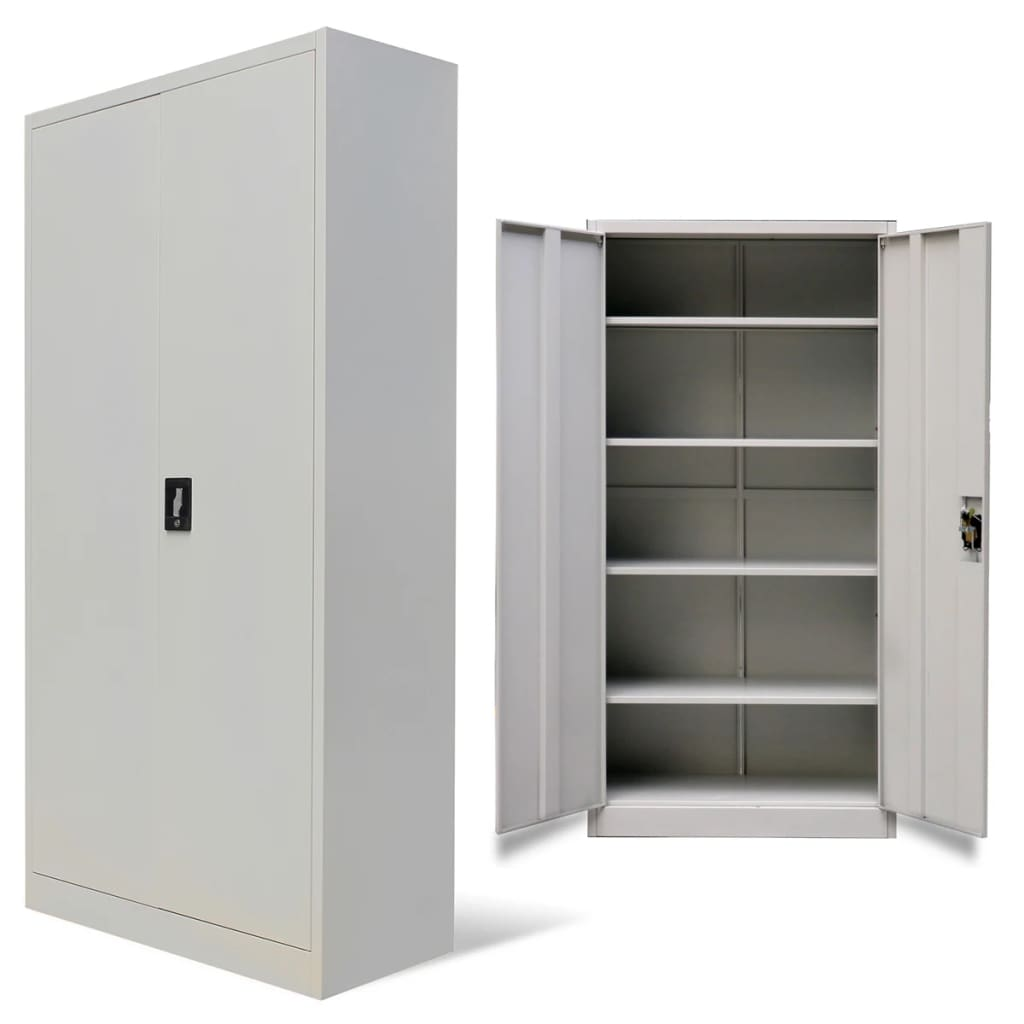 acheter vidaxl armoire de bureau avec 2 portes m tal 180 cm gris pas cher. Black Bedroom Furniture Sets. Home Design Ideas