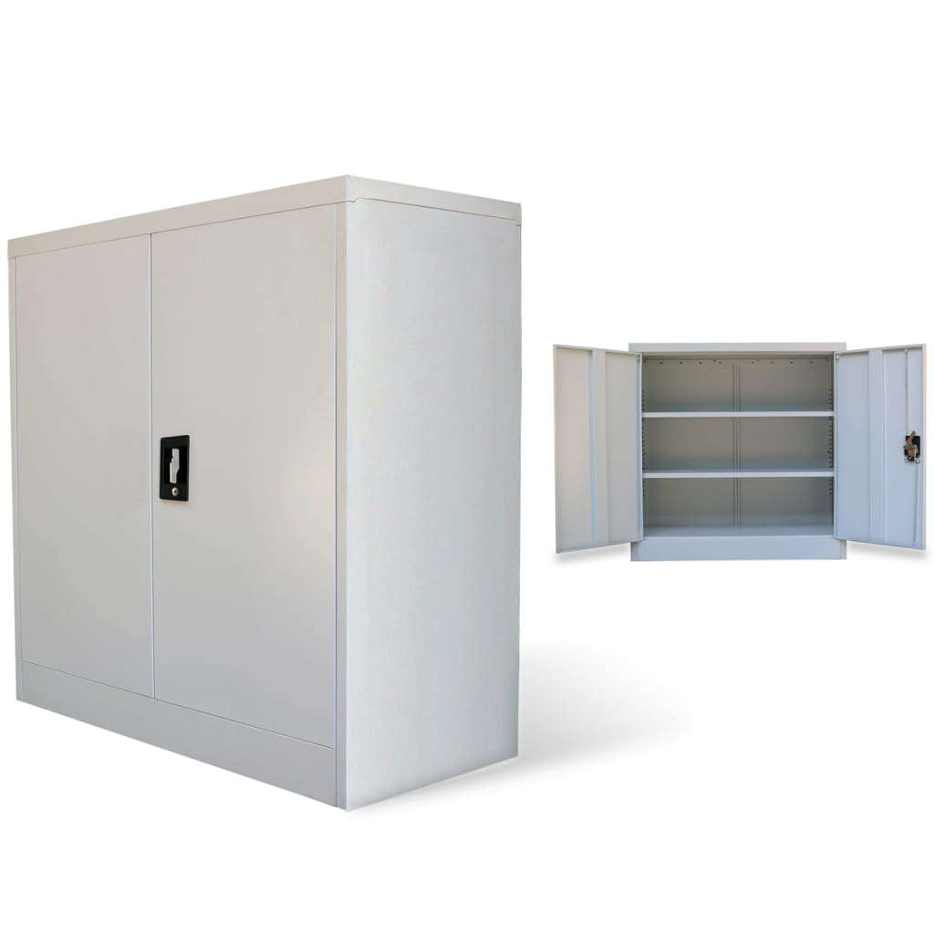 Metal office cabinet 2 doors 90 cm grey for Metal cabinet doors kitchen