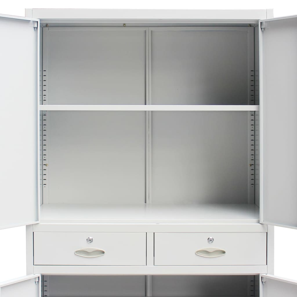 Metal Office Cabinet 4 Doors 2 Drawers Gray Vidaxl Com