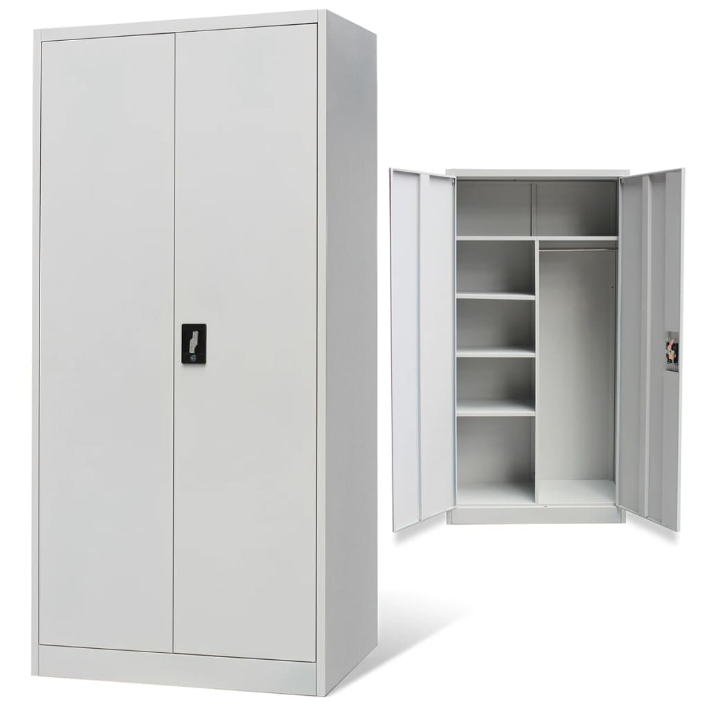 Metal locker style cabinet 2 doors grey for Metal cabinet doors kitchen